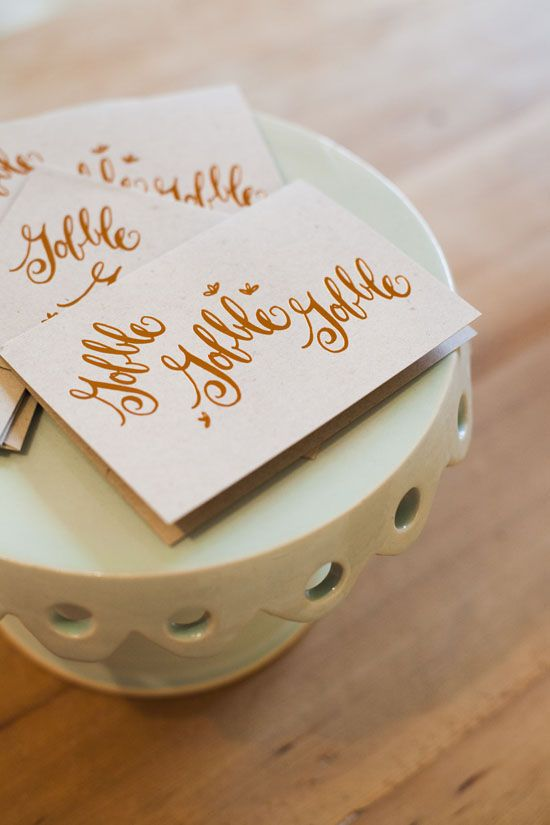how about these cute copper foiled thanksgiving gobble cards from laura hooper calligraphy?
