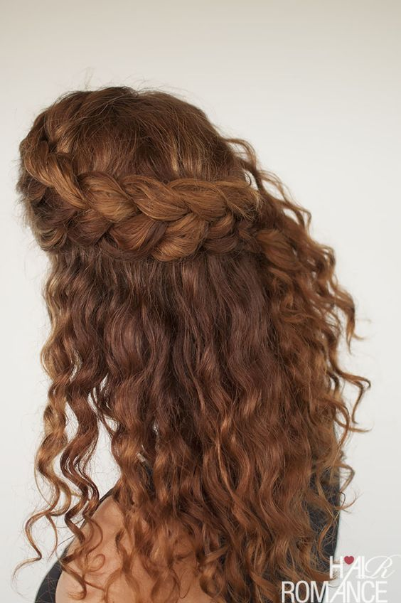 A Half Updo With A Large Side Braided Halo And Locks Down Will Easily Accent Your Folksy Or Boho Look Curly Hair Styles Naturally Hair Romance Long Hair Styles