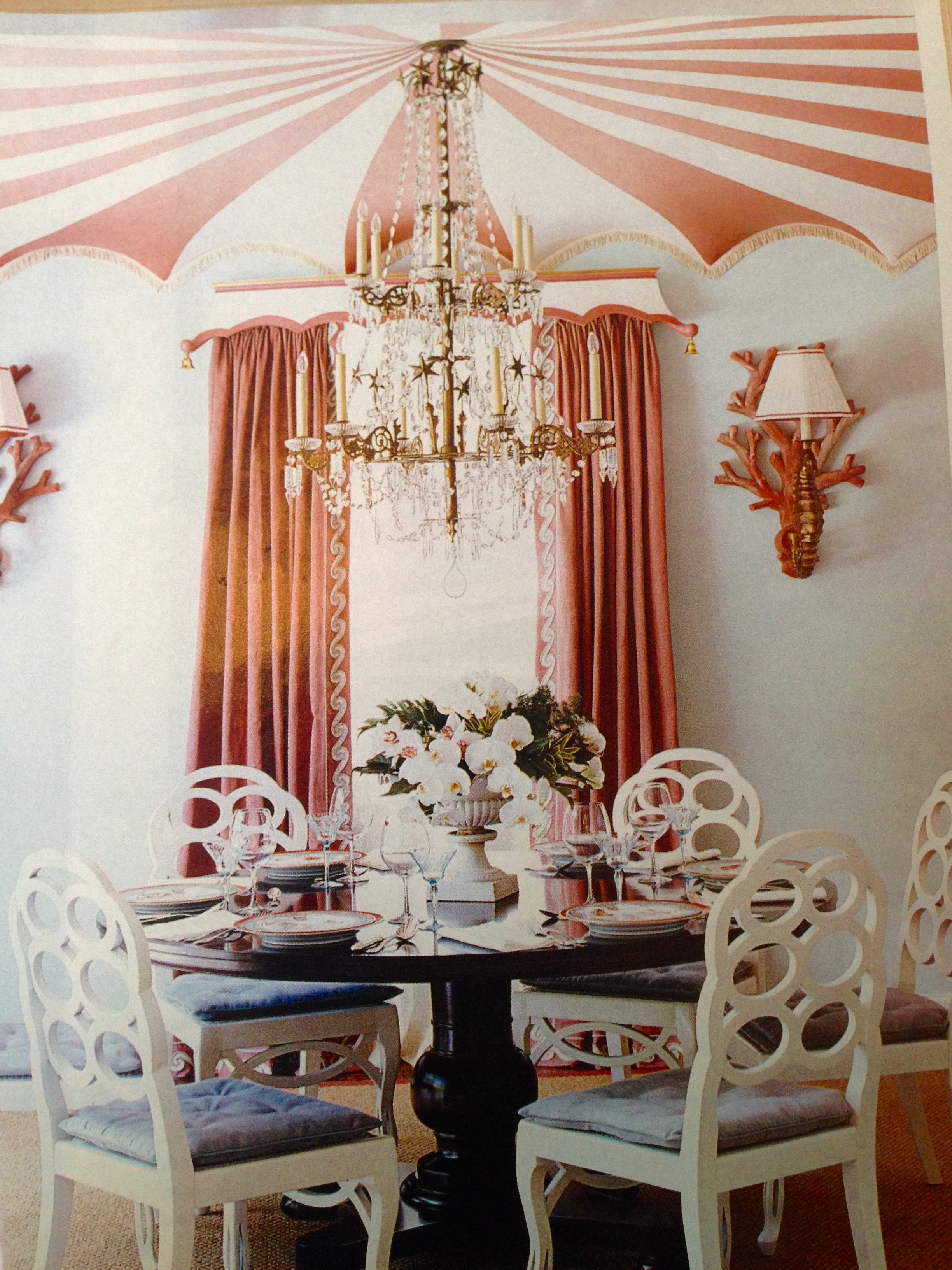 This playful tented ceiling was created by Richard Keith Langham.