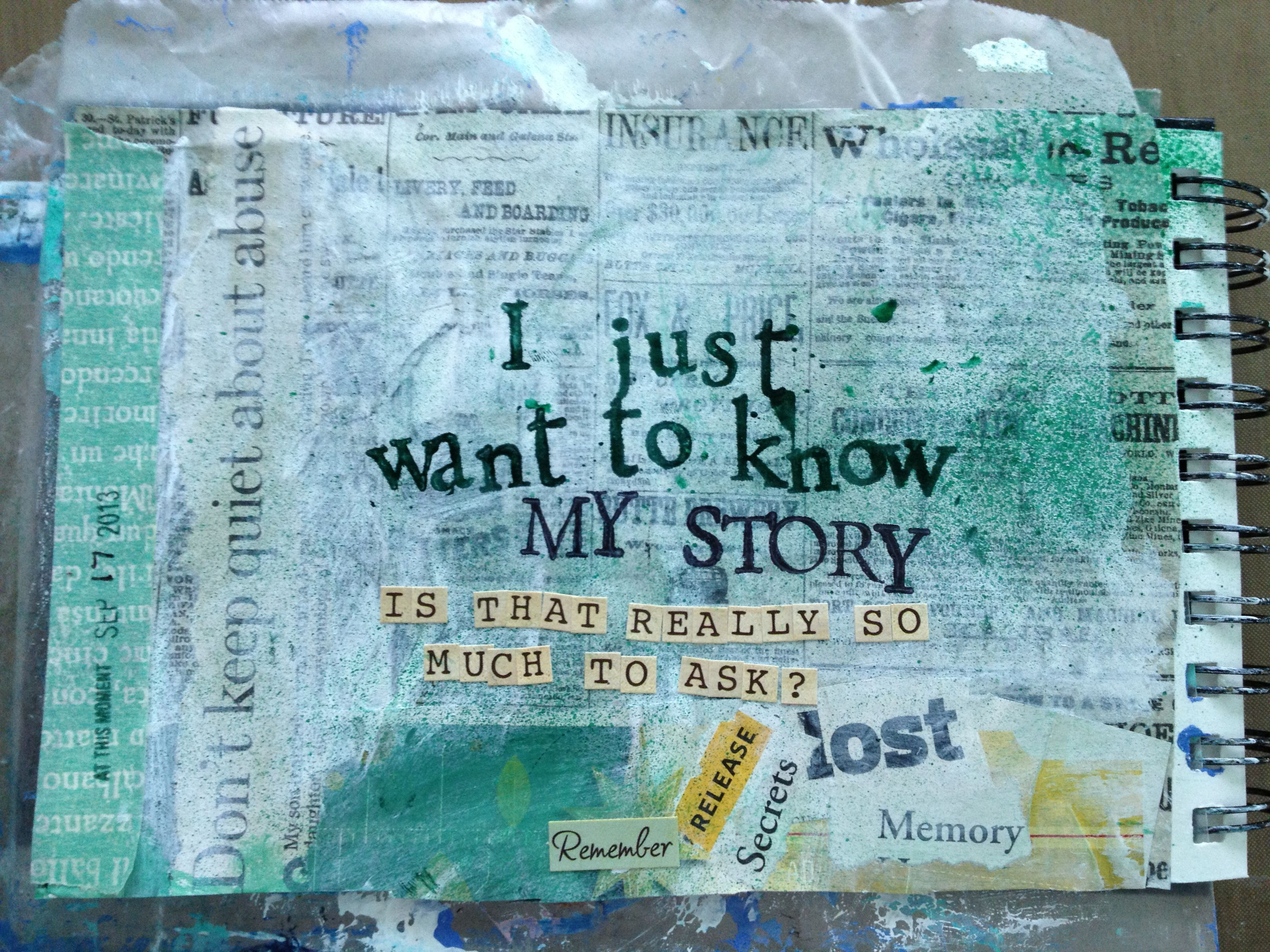 I Just Want to Know. Journal page by L. Bush.