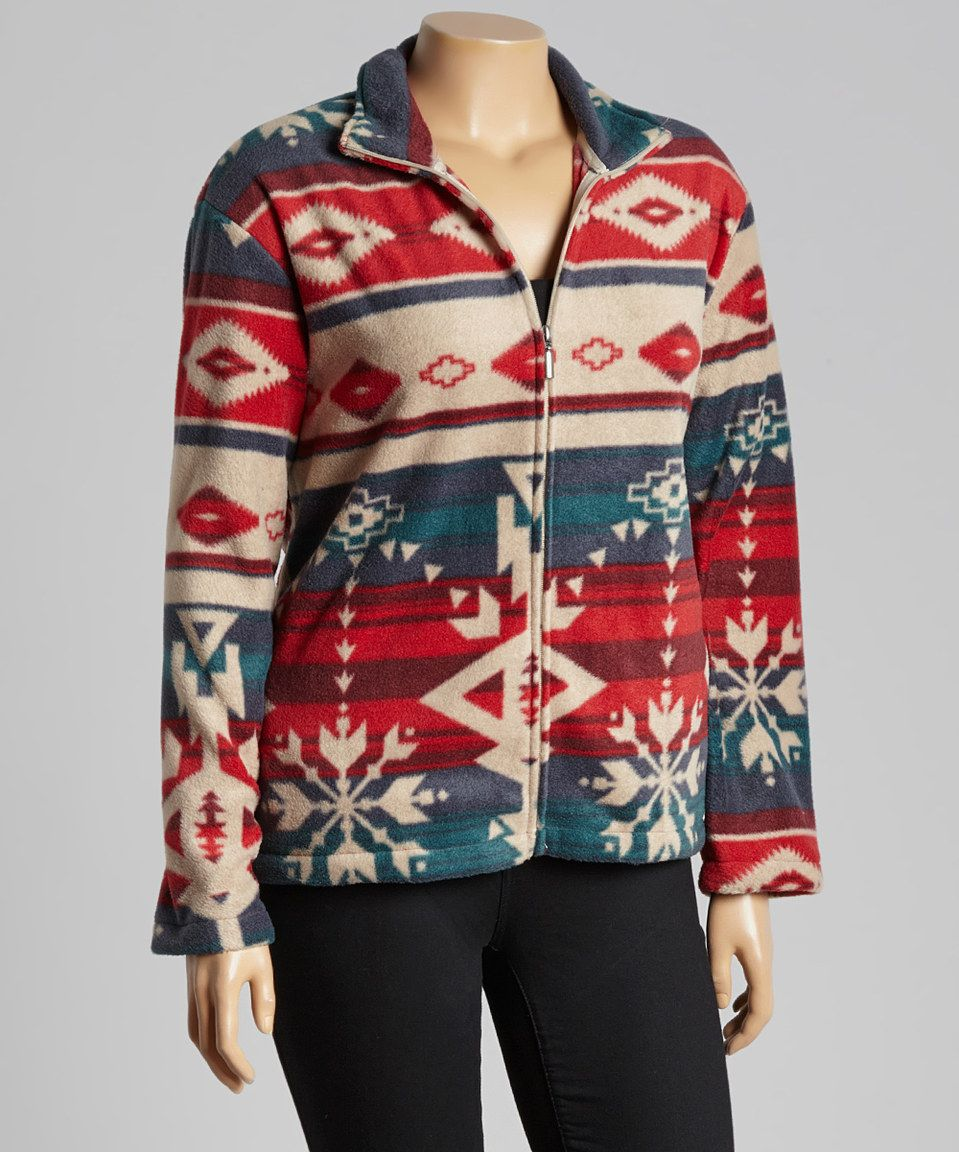 Another great find on zulily red u beige tribal zipup fleece