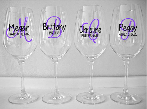 9f24a78c7b Monogram Bridal Party Wine Glass Decals by SaidInStoneOnline ...