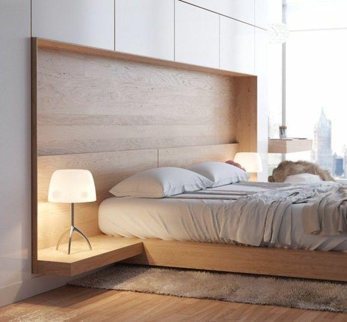 chambre à coucher design scandinave, intérieur en bois clair, lampe