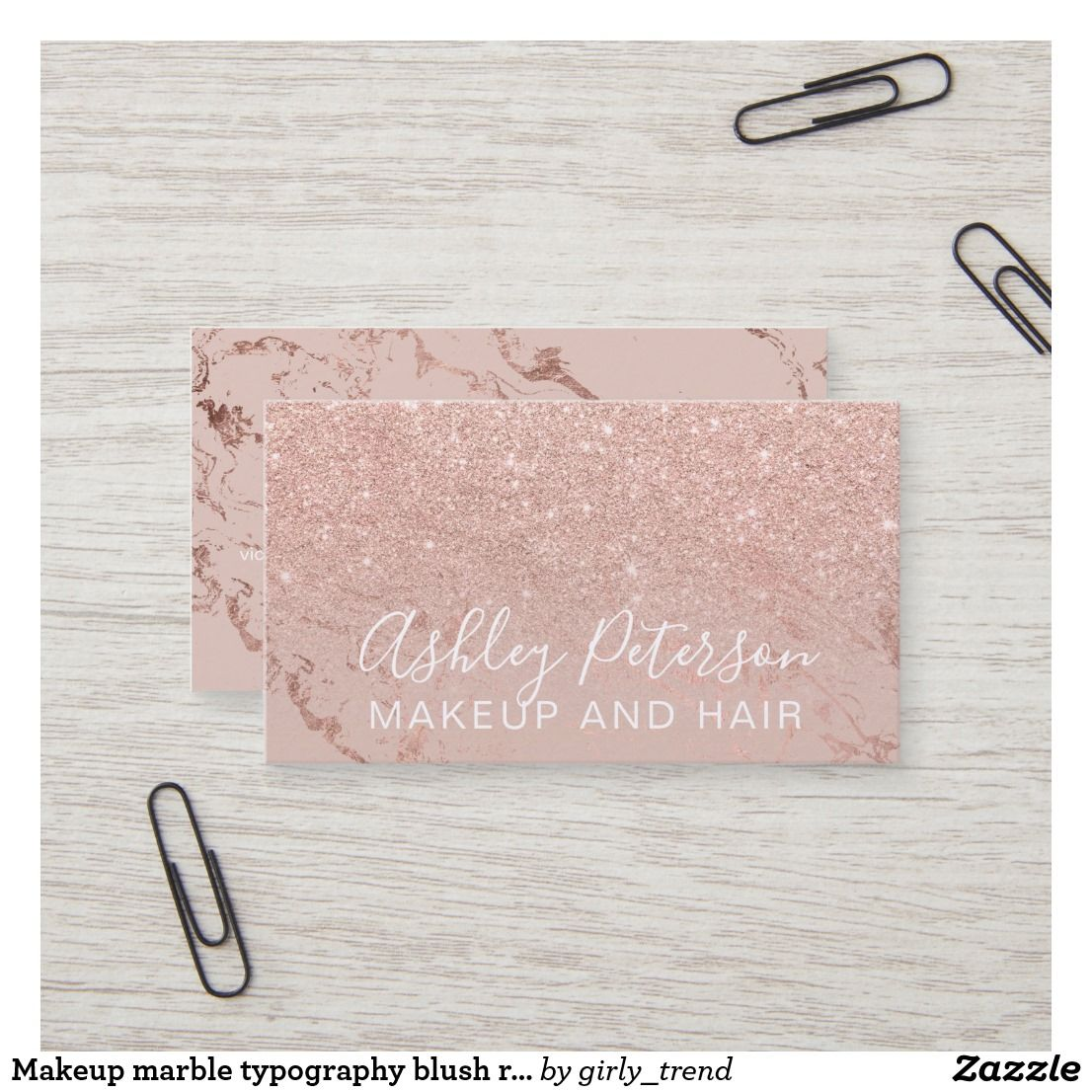 Makeup marble typography blush rose gold glitter business