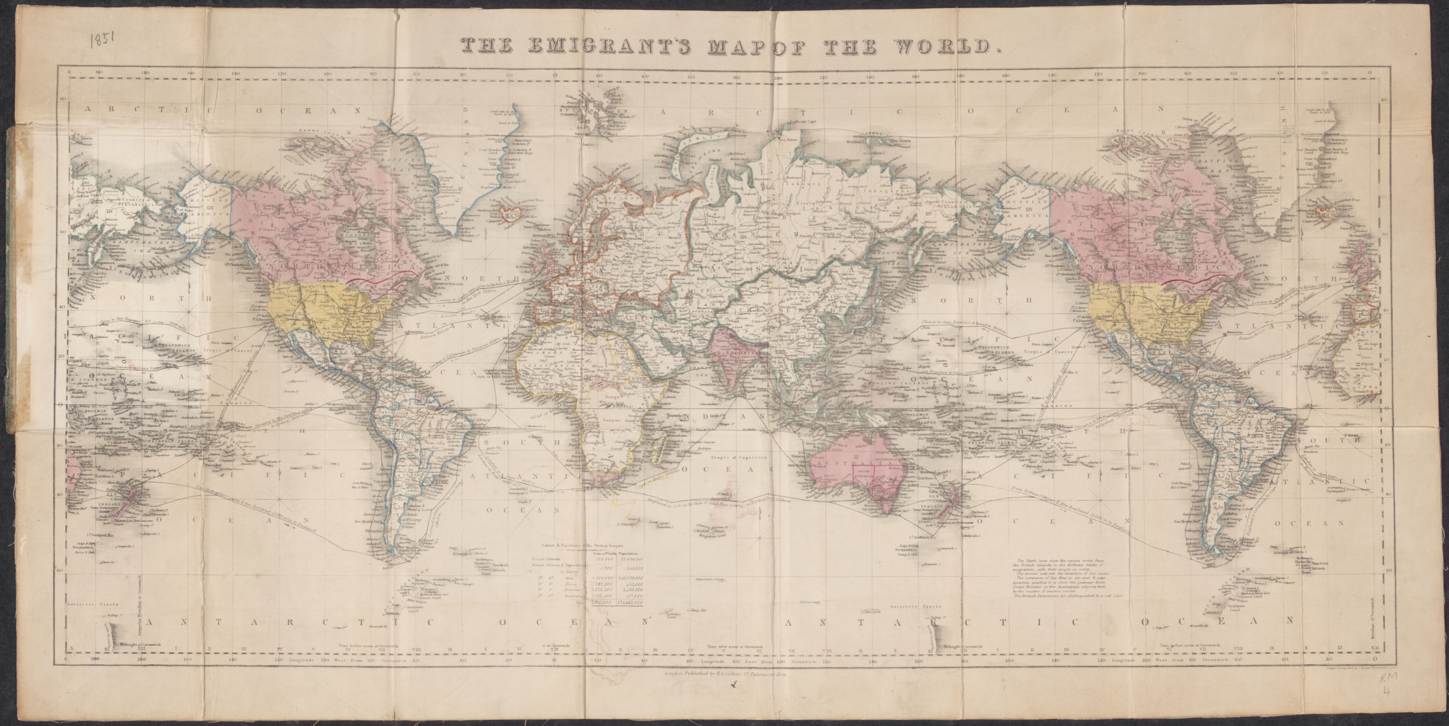 The Emigrants Map Of The World Published In The 1850s Mapmania