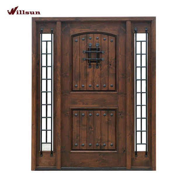 Photo of Source Custom front Single iron wooden Doors with sidelite Entry Wrought Iron Wo…