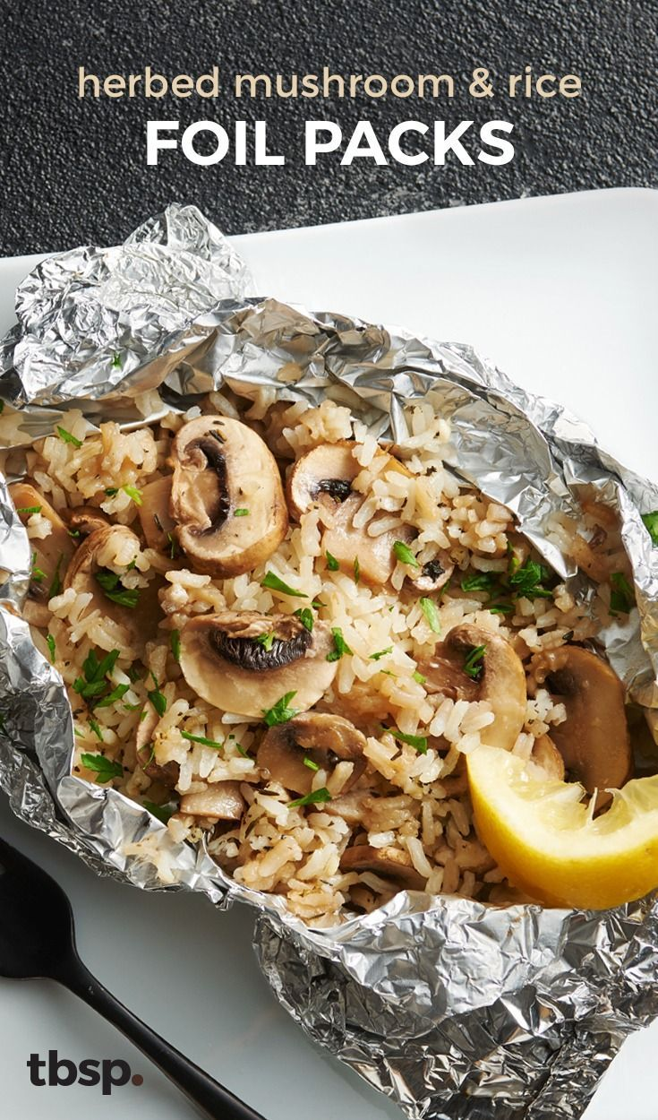 Mushroom and Rice Foil Packs Grilling veggies got a whole lot easier with these mushroom and rice foil packs. Seasoned with fresh thyme and parsley, and cooked with brown sugar and butter, they're a no brainer for a summer side.Grilling veggies got a whole lot easier with these mushroom and rice foil packs. Seasoned with fresh thyme and parsley, and cooked wi...
