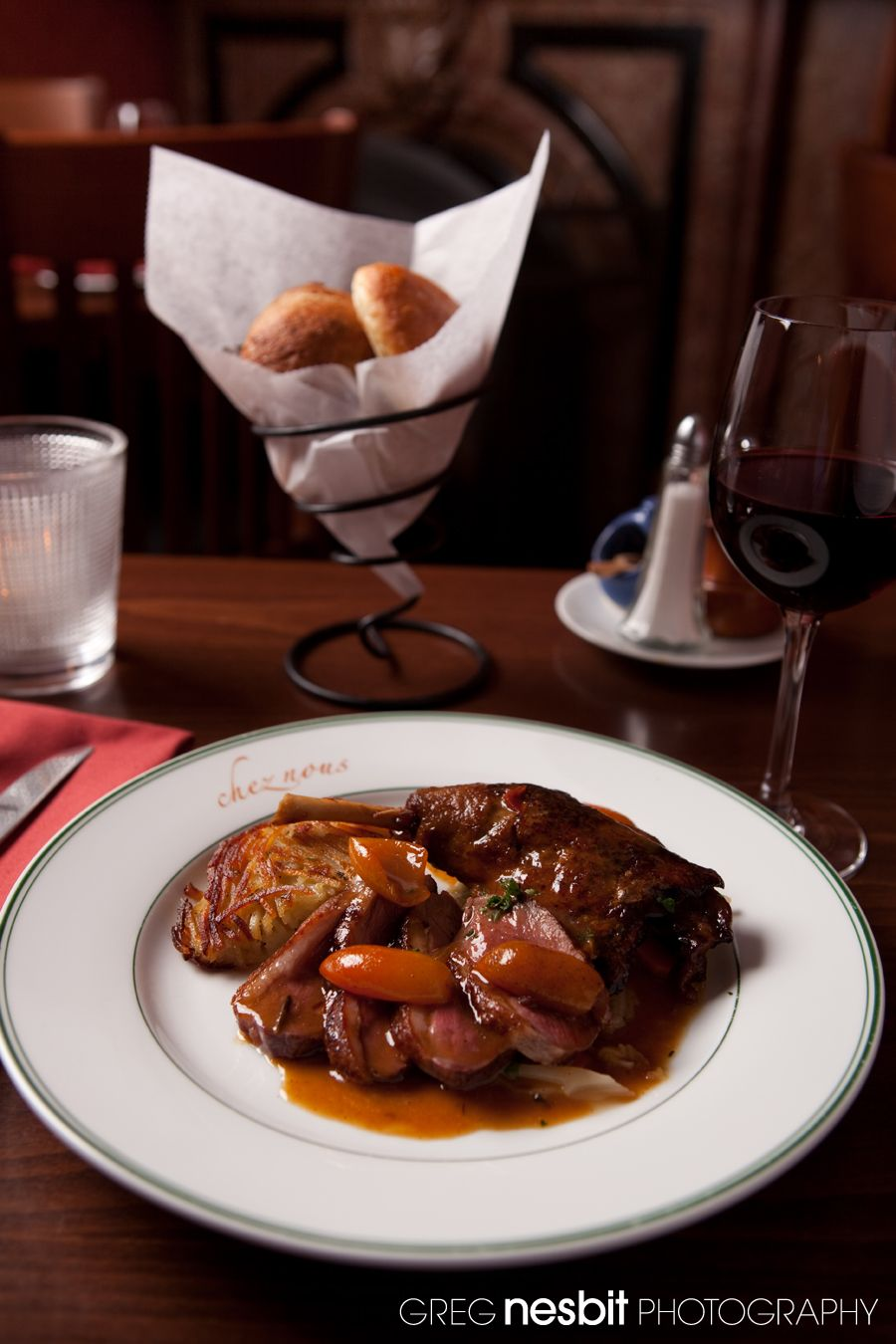 Duck 2-Ways: Roasted Magret of Duck and Braised Duck Leg  with Kumquat Sauce, Rosti Potatoes, Melted Savoy Cabbage