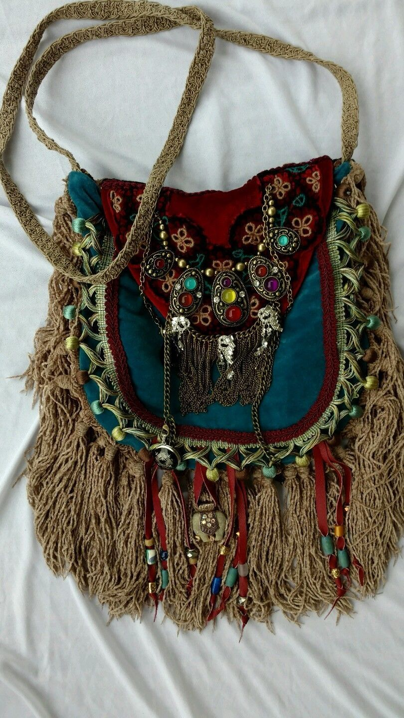 Handmade Velvet Fringe Bag Gypsy Hippie Boho Hobo Ibiza Festival Purse  tmyers  cd1c9d194edf5