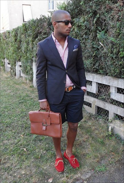 467320731e2 Navy shorts and blazer paired with a red driving mocs and a red stripe  oxford.