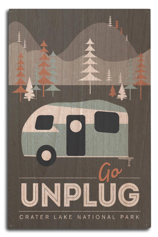 10x15 Wood Sign (Crater Lake National Park - Go Unplug - Retro Camper - Lantern Press Artwork)