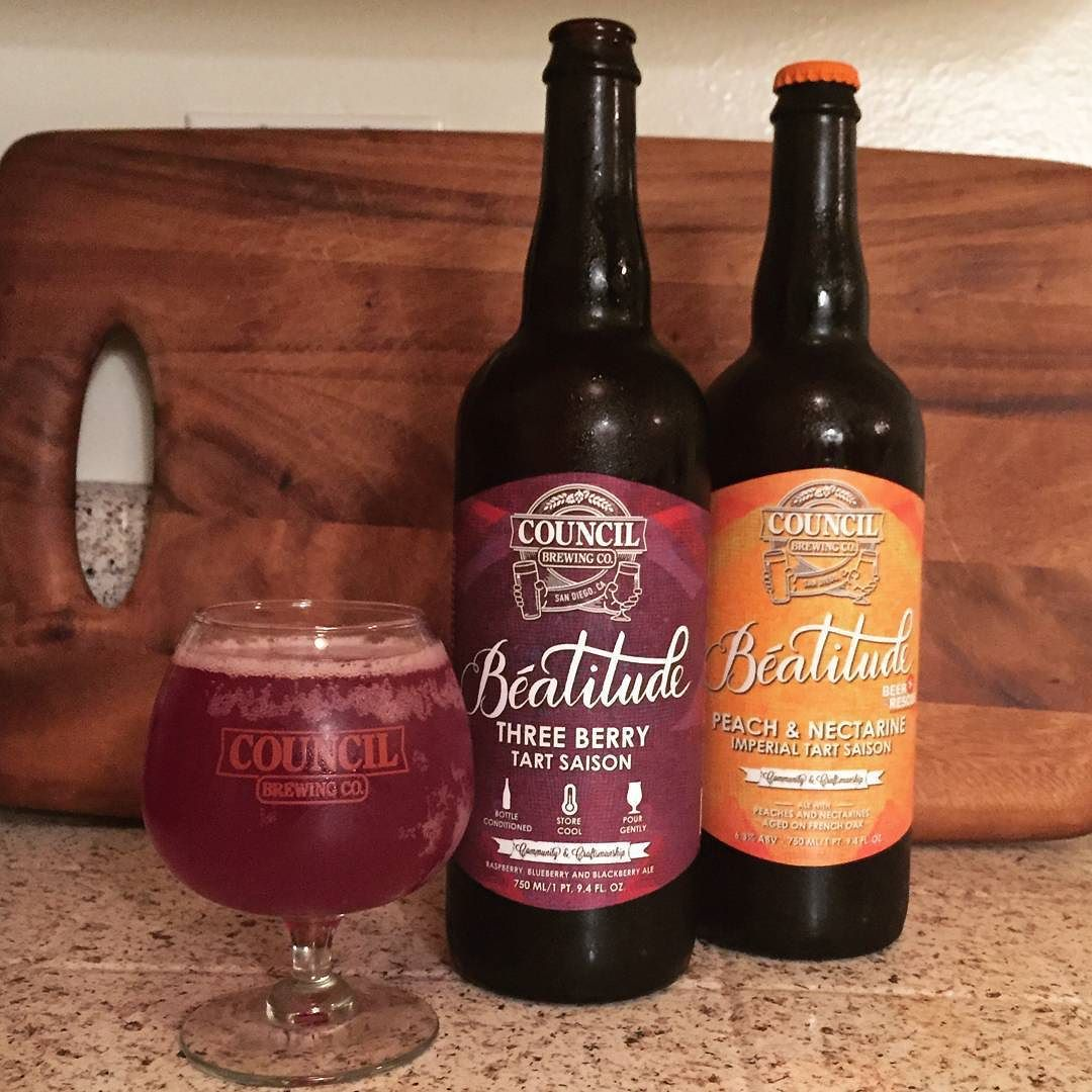 Tonight for #SourSunday we have two beers from the #Beatitude series from @councilbrewing // Three Berry Tart Saison & Peach and Nectarine Imperial Tart Saison