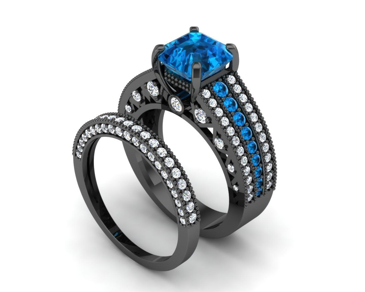 Incredible Ring Set Engagement Ring Temple of the Ancient Dragon Exclusive  Incredible London Blue Topaz Center with London Blue Topaz Accents over 2 Carat Total Weight  Diamond Accents over 1.5 Carat Total Weight  Durable Construction and Incr...