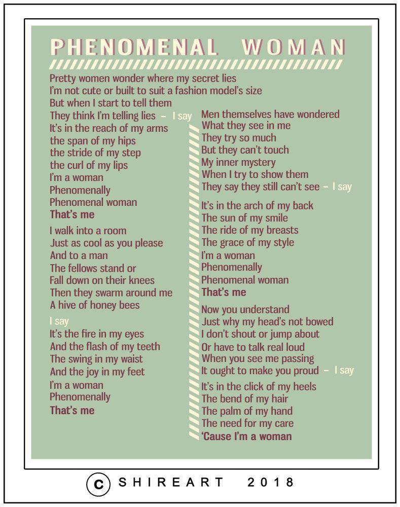 Phenomenal Woman Poem Print Maya Angelou Phenomenal Woman