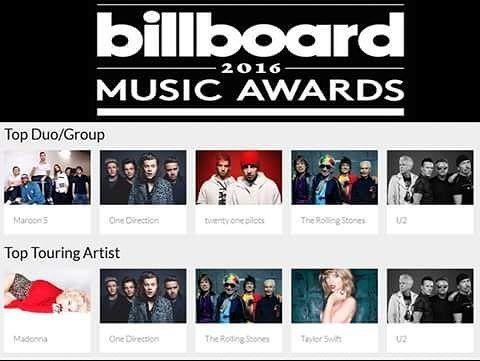 O #U2 foi indicado para dois prêmios, Melhor Grupo e Melhor Turnê, na #BillboardMusicAwards2016, que acontece no dia 22 de maio, em Las Vegas.