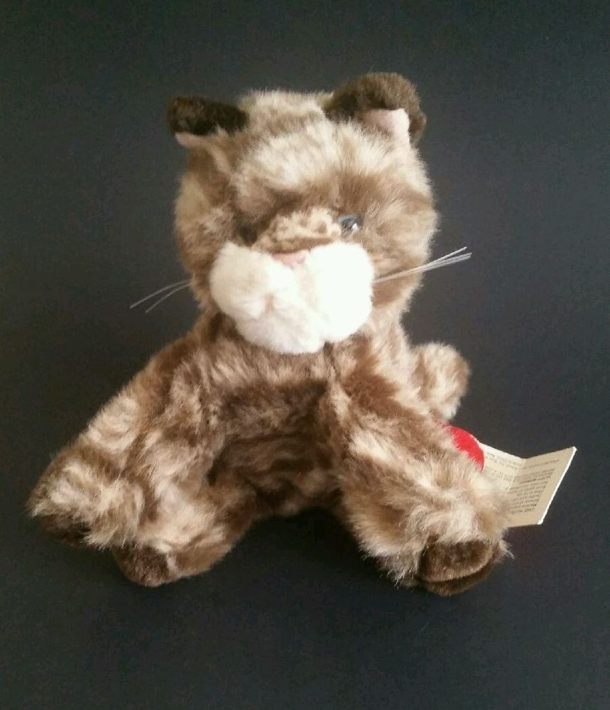 Russ Whiskers Dark Brown Tabby Cat Plush Stuffed Kitten 5 Inch Toy