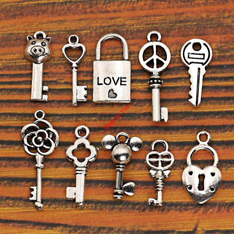 مختلطة التبتية فضة القلب مفتاح قفل الحب السلام سحر المعلقات المجوهرات جعل الحرف Diy سحر مجوهرات اكسسوارات اليدوية Jewelry Crafts Jewelry Making Peace Charm