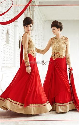 Designer Indo Western Gowns A Line Style Embroidered With Long ...