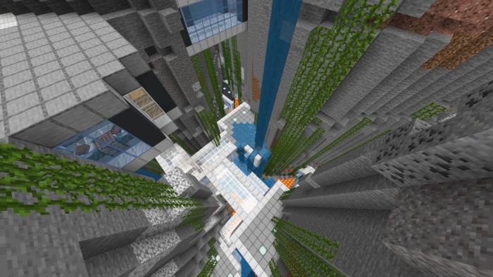 Underground Ravine Base End Base Minecraft Pe Maps In 2020 Underground Skyscraper Ravine