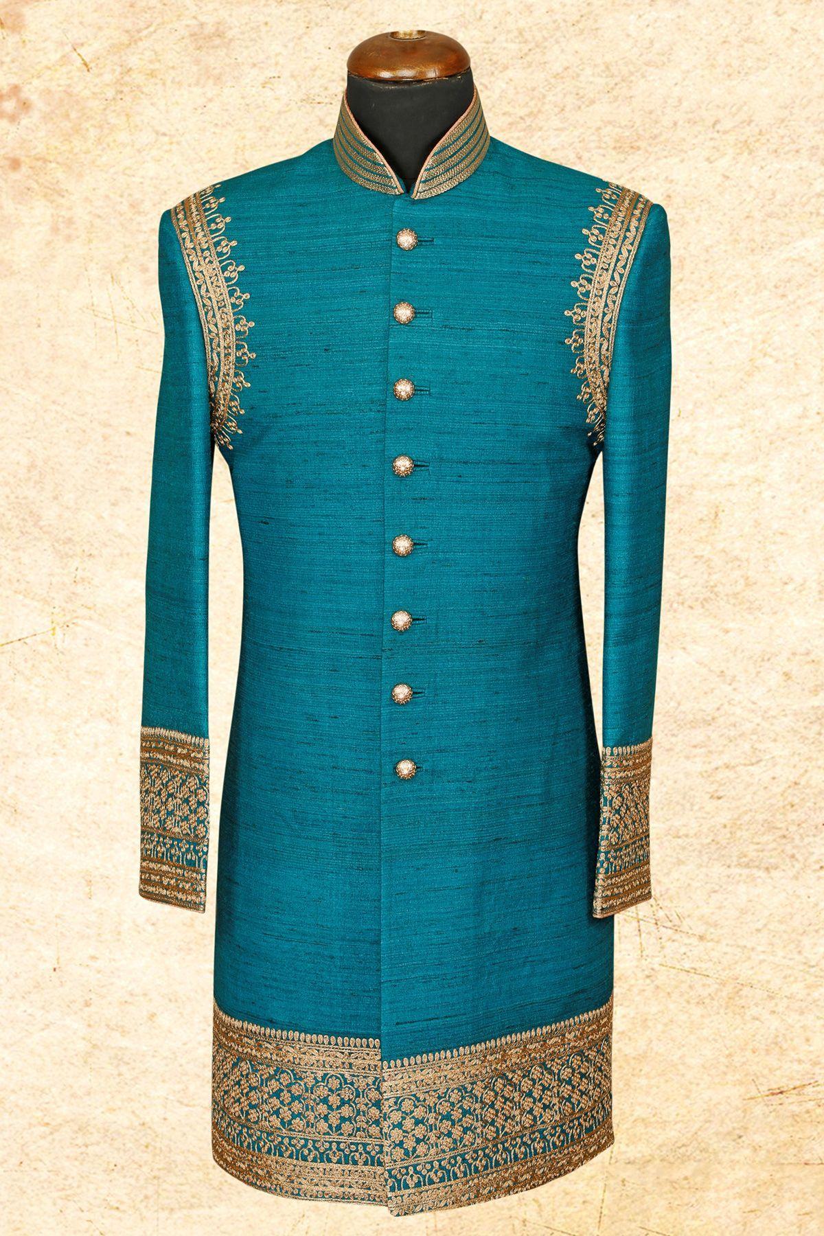 Sky Blue Raw Silk Zari Embroidere Wedding Sherwani-IW637 | ethnic ...