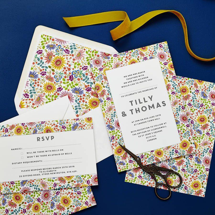 Bright Flowers Wedding Invitation Set | Bright flowers, Wedding ...