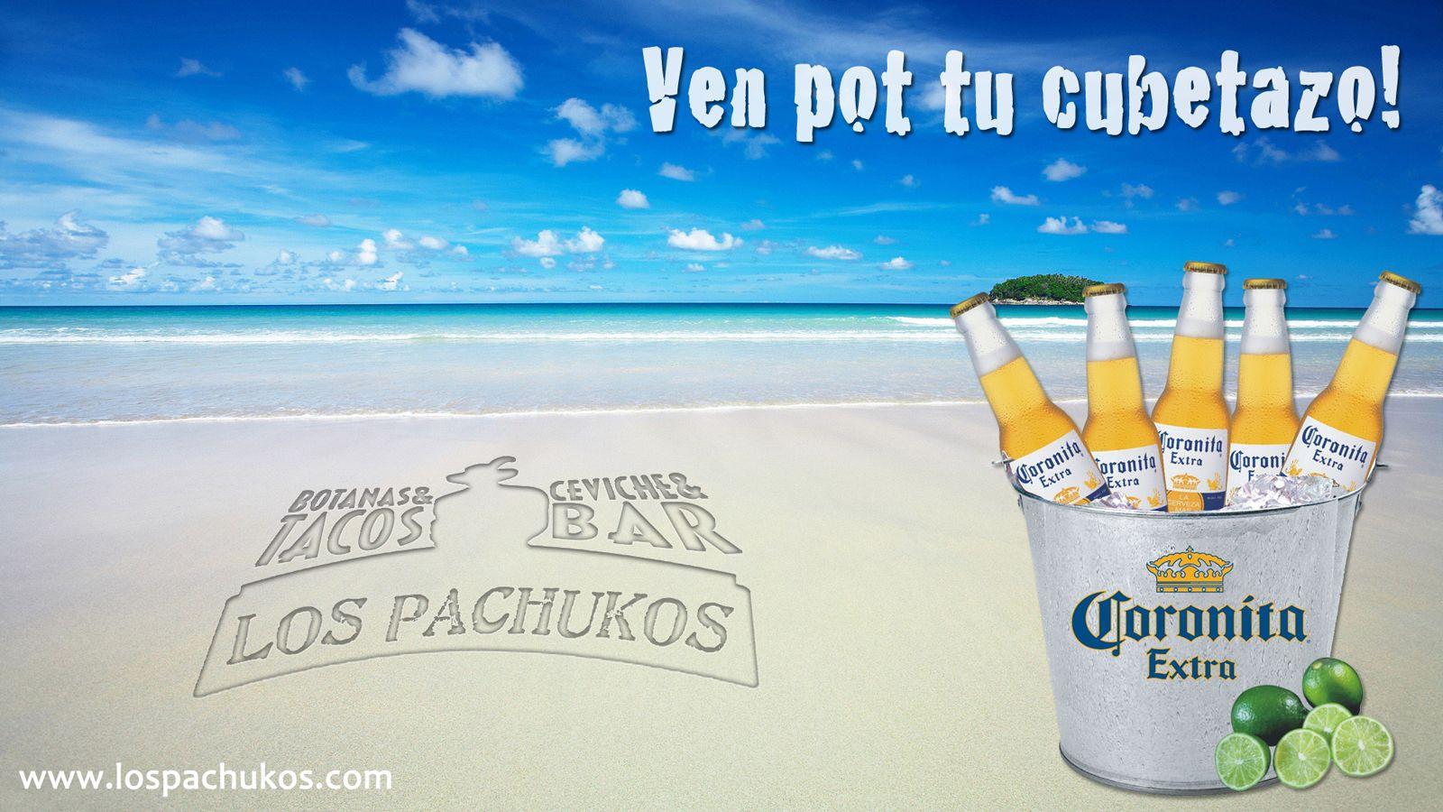 Ve a disfrutar de un refrescante cubetazo de Corona o Pacifico en Los Pachukos restaurante playa del carmen.