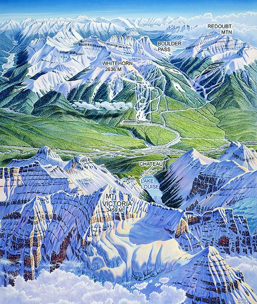 Lake Louise Ski Map Canada by James Niehues | Maps and plans ...
