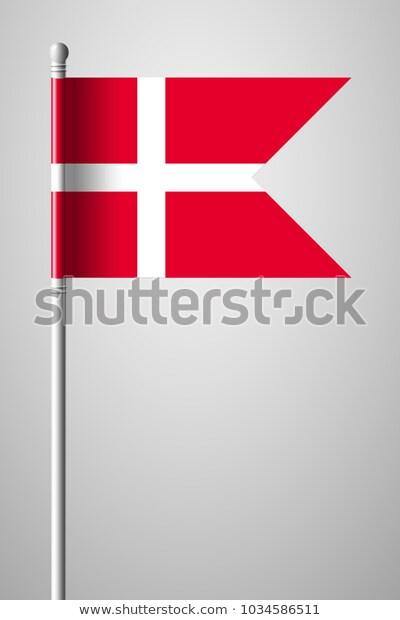 Flag Denmark National Flag On Flagpole Stock Vector Royalty Free 1034586511 National Flag Denmark Flag Flag