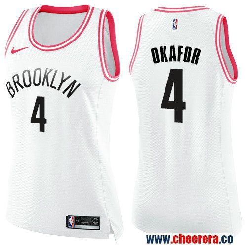 73ad5f624 Nike Brooklyn Nets  4 Jahlil Okafor White Pink NBA Swingman Fashion Jersey