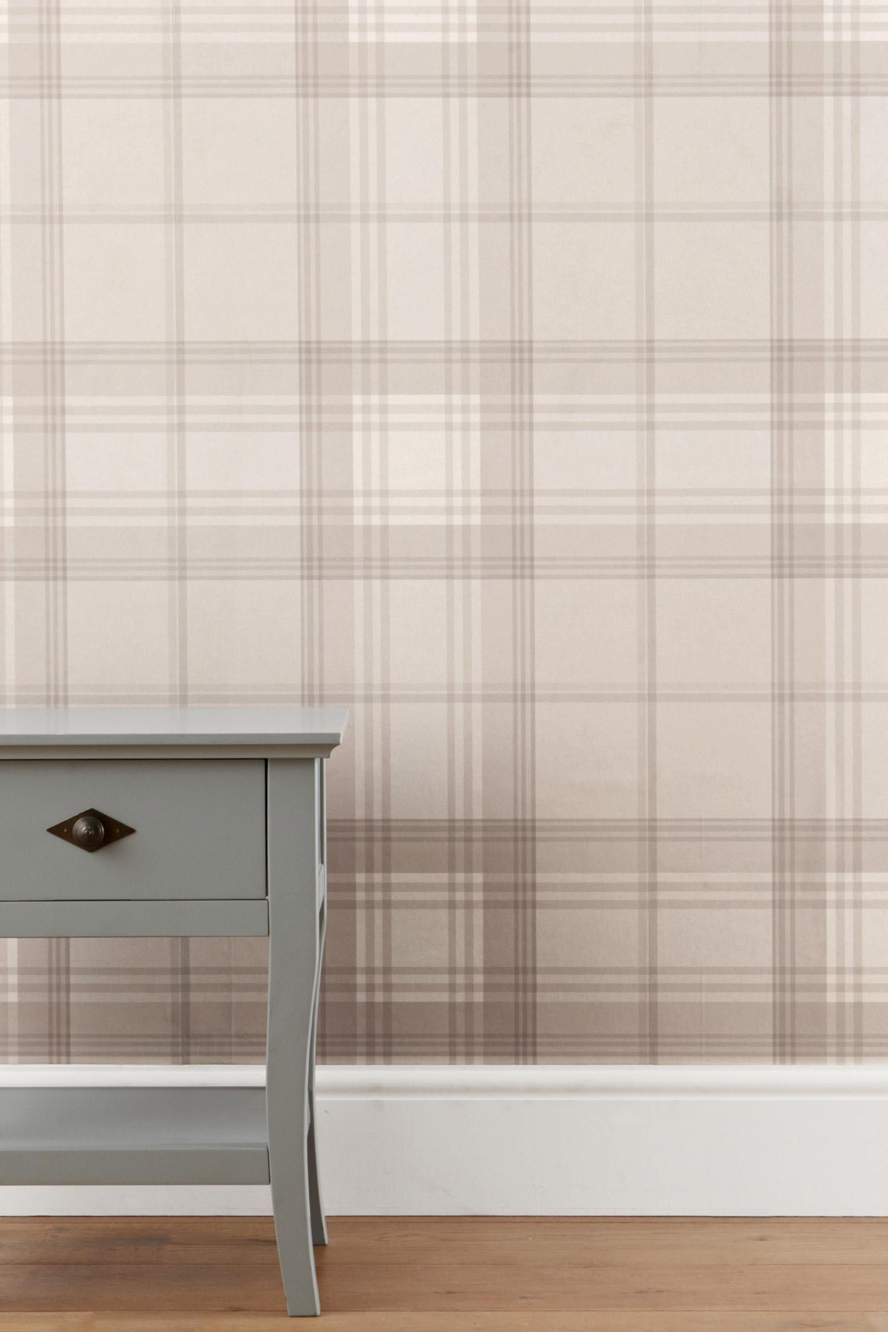 Buy Natural Check Wallpaper from the Next UK online shop | Rooms with plaid