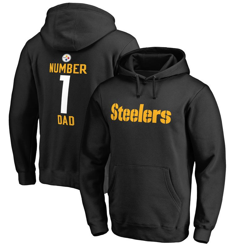 Pittsburgh Steelers NFL Pro Line Number 1 Dad Pullover Hoodie - Black d122ddabe