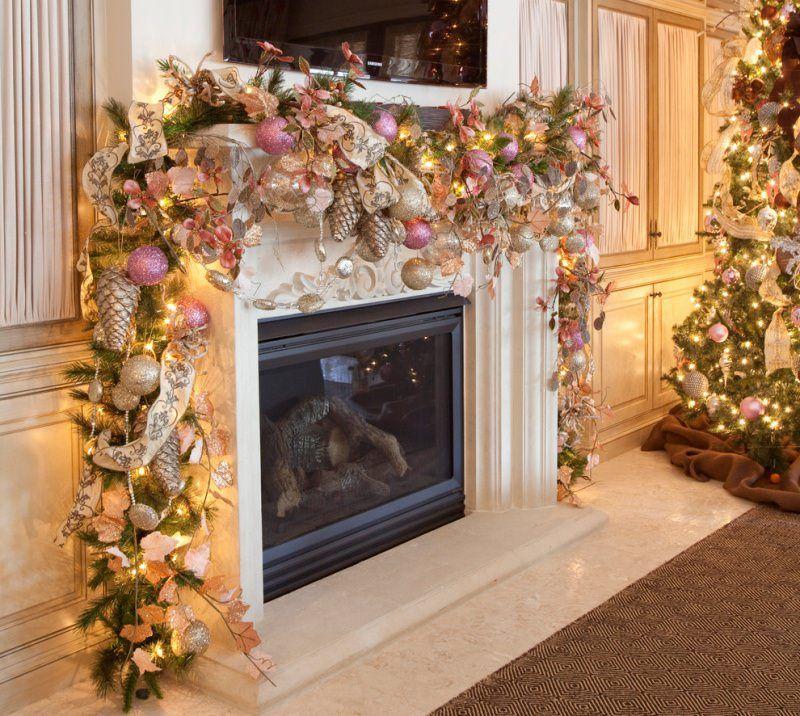 Addobbi Natale 2014 Decorazioni Rosa Argento Oro Luci Pigne Camino  Televisione Albero Natale Palline Nastro