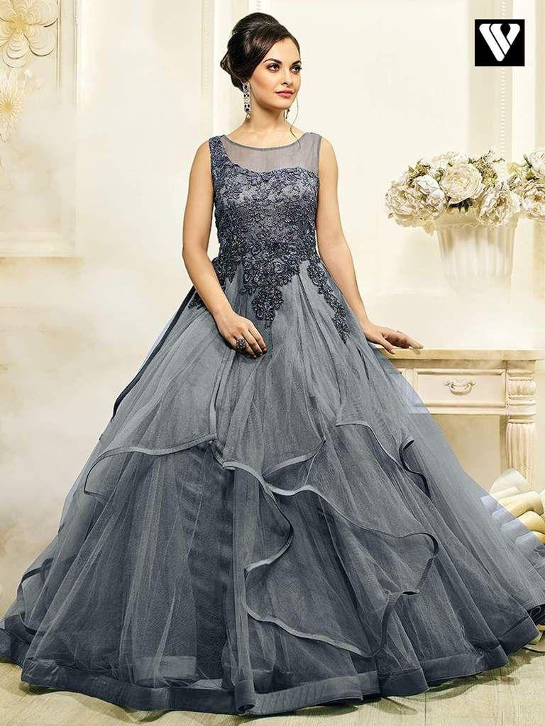Buy Designer Slate Gray Color Hand Work Wedding Gown