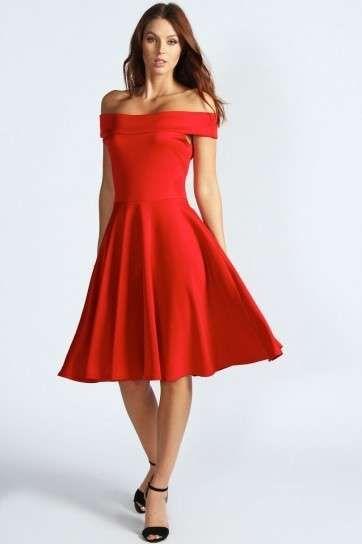 Vestidos ala rodilla color rojo