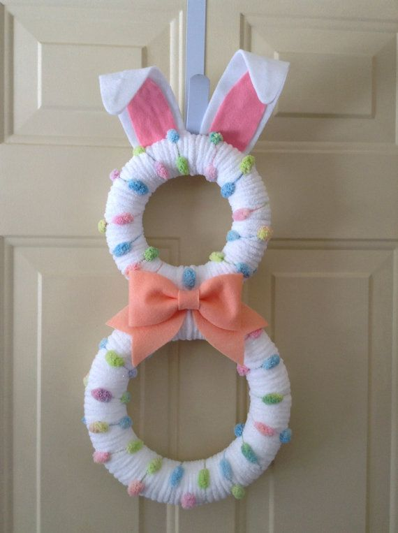 Easter Bunny Wreath Pastel Bunny By Bluehousedesignz On