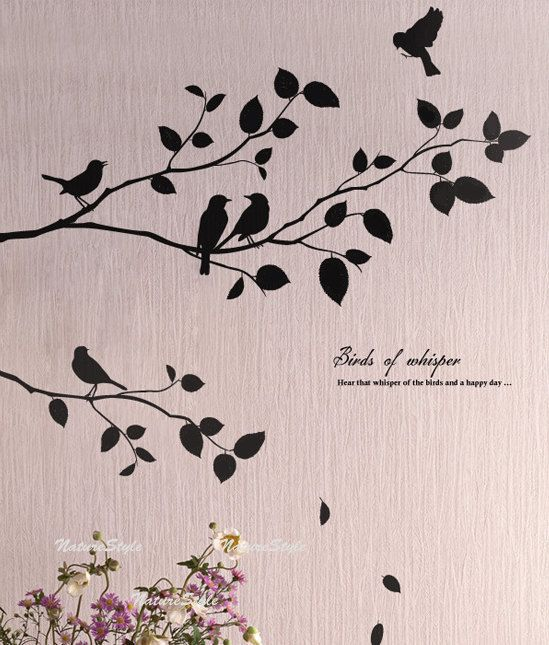 two branches with flying birds vinyl wall decal sticker nature