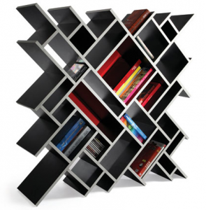 Unique Bookshelves. A must since my books currently reside in tote bags.
