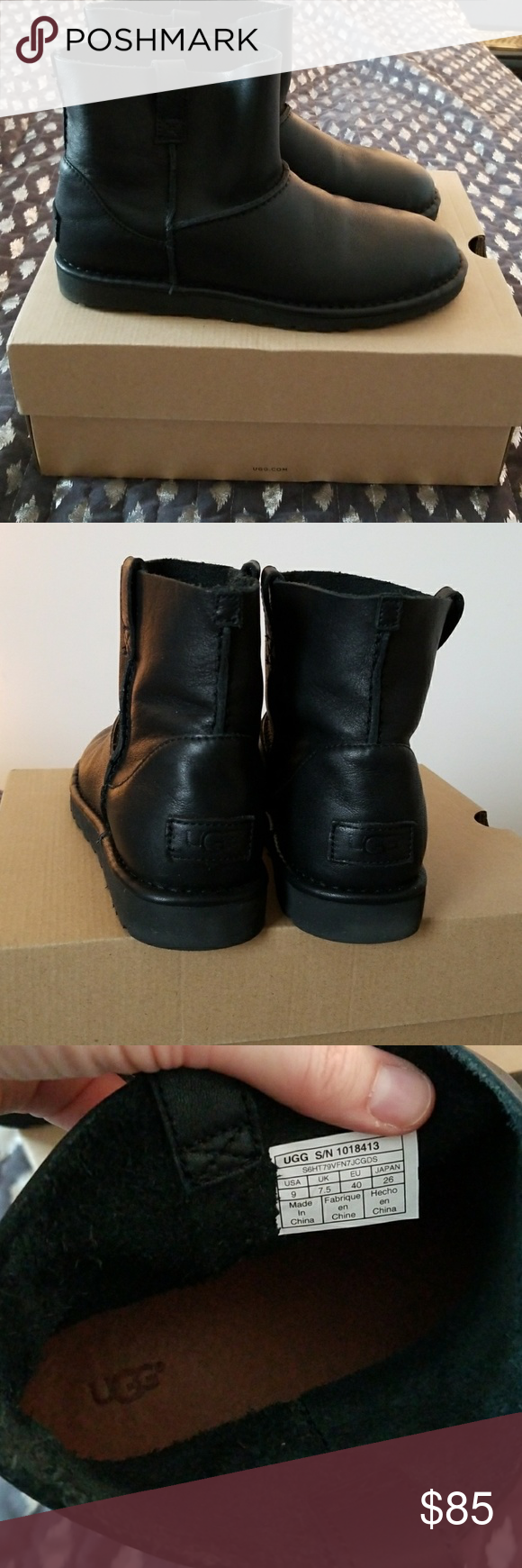 30d86dc62f42 UGG women s classic mini unlined black leather boot size 9. Beautiful!  Lightweight. UGG Shoes Ankle Boots   Booties