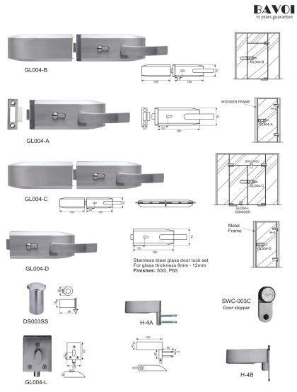 Orbit Stainless Steel Glass Door Lock Manufacturergl004abcdlh