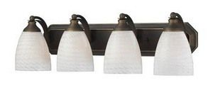 Photo of Mix-N-Match – Four light bathroom furniture A19 Medium Base WTS: White, swirled bronze finish with yellow glass