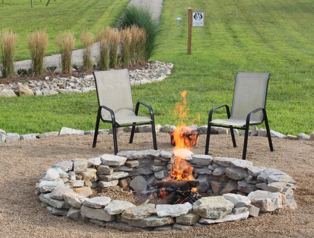 The Completed Stone Fire Pit Project   How We Built It for $20 ...