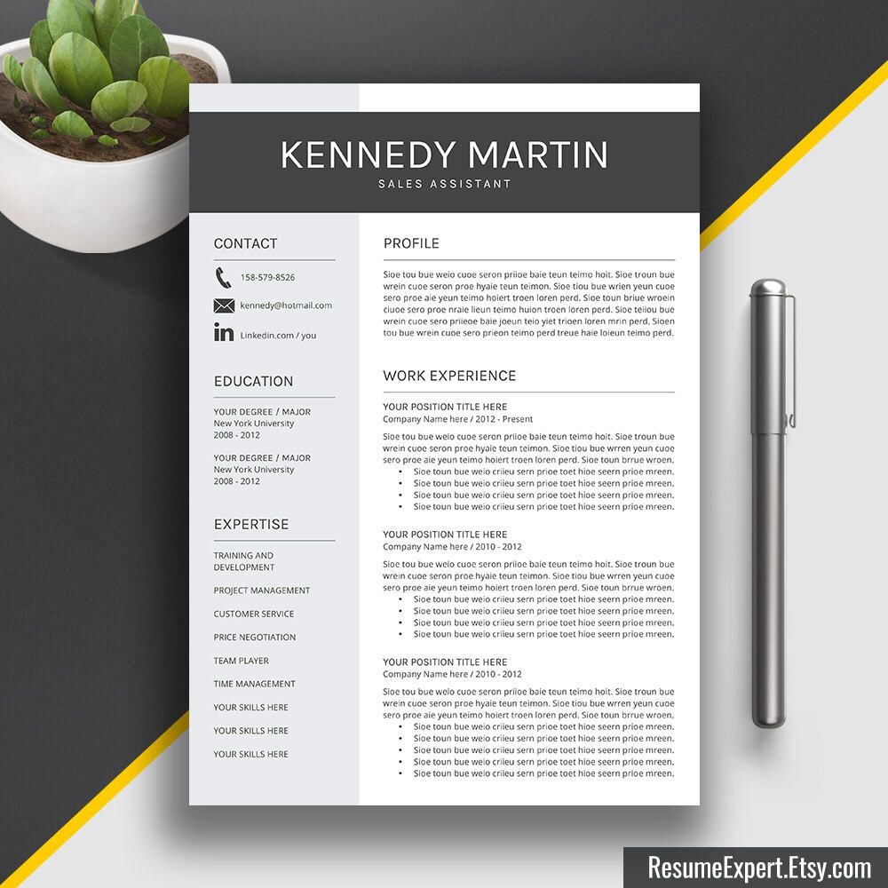 resume template cover letter cv template word us letter a4 - Simple Resume Templates Word