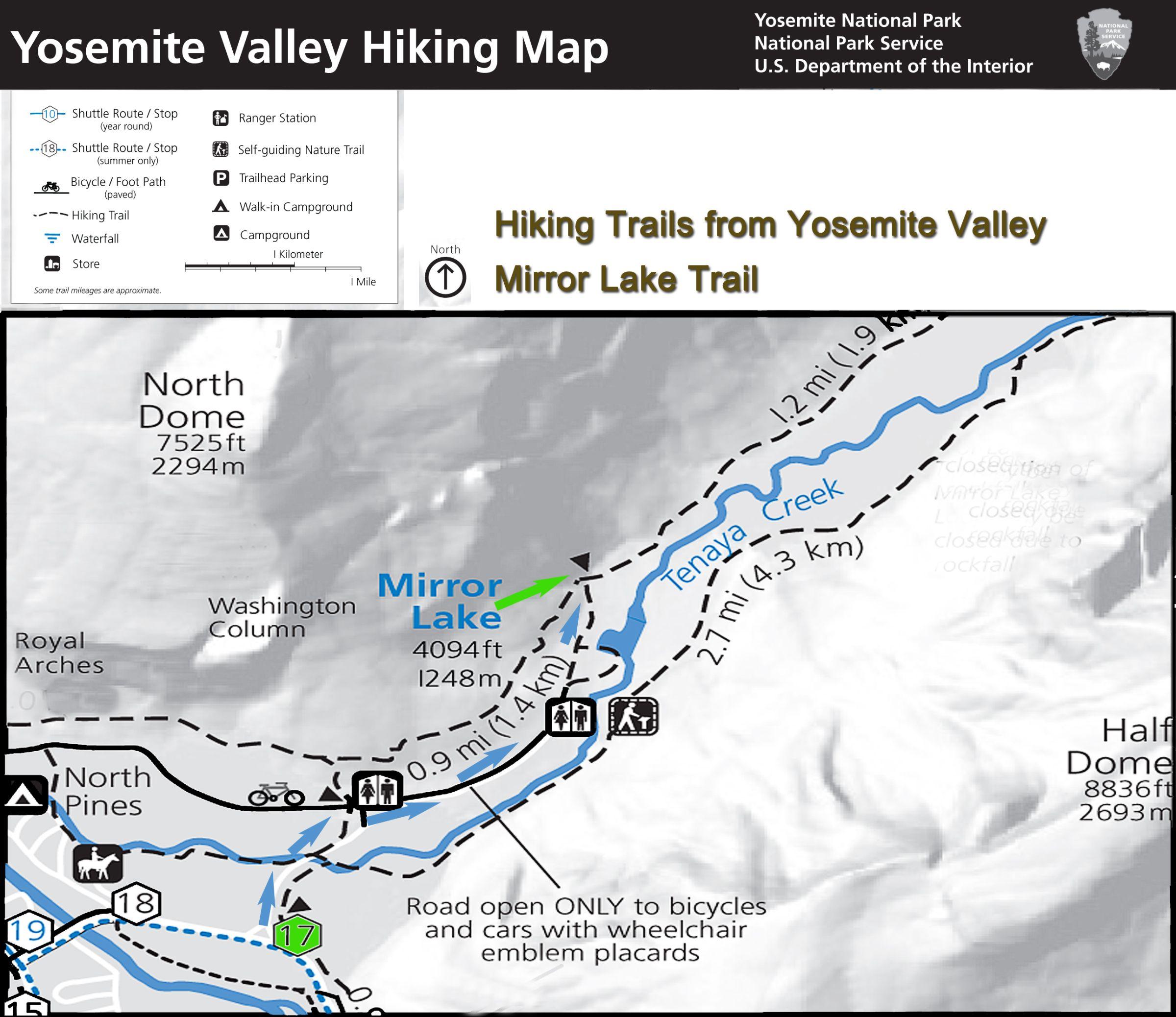 yosemite hiking map mirror lake trail the trail starts. Black Bedroom Furniture Sets. Home Design Ideas