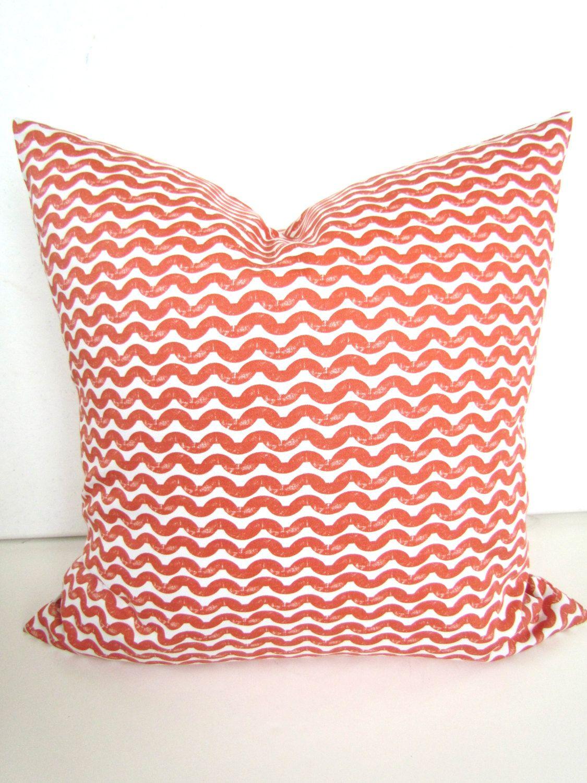 PILLOW COVER 18x18 CORAL Decorative Throw Pillows Chevron Pillow ...