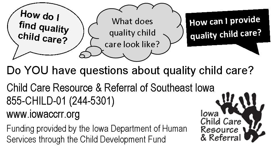Do you have questions about child care in Iowa? childcare