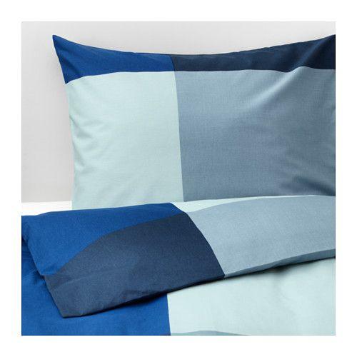 Ikea Brunkrissla Housse De Couette Et Taies Bleu Gris