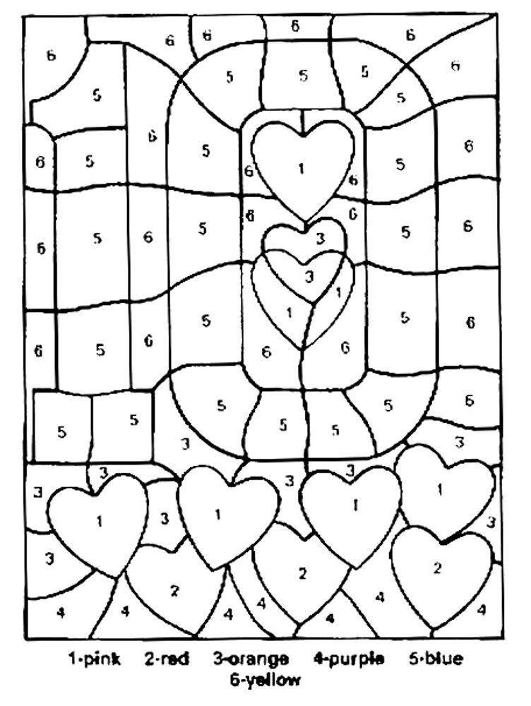 Valentine S Coloring Pages Number Ten Color By Numbers Coloring