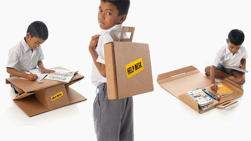 Bambini Indiani ~ Scrivania portatile in cartone riciclato per i bambini indiani