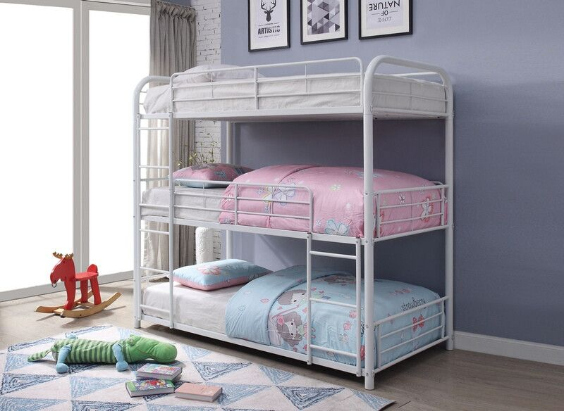 Acme 38115 Cairo White Finish Metal Triple Full Bunk Bed Set