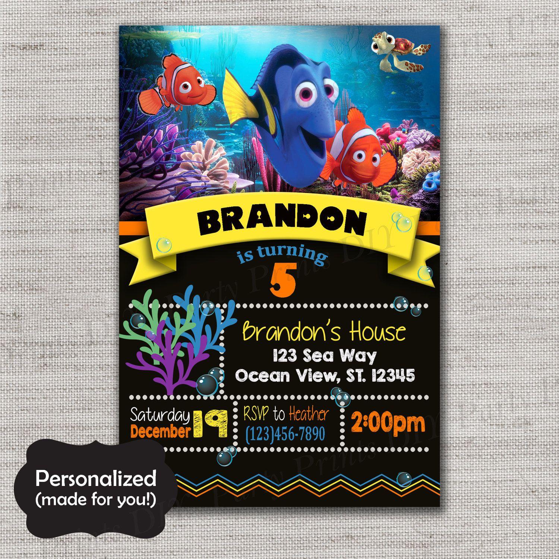 Finding Dory invite,Finding Nemo Birthday invitation,JPG file ...